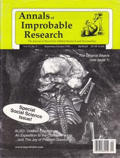 Image for Annals of Improbable Research - The Journal of Record for Inflated Research and Personalities / Vol. IV, No. 5 / September-October 1998