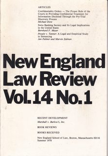 Image for New England Law Review Vol. 14 No. 1 (Summer, 1978) Confidentiality Orders