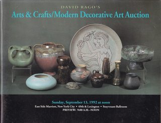 Image for David Rago's Art & Crafts/ Modern Decorative Art Auction; Sunday, September 13, 1992 at noon.  East Side Marriott New York.