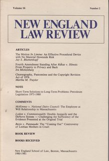 Image for New England Law Review: Volume 16 No. 2  1980-1981