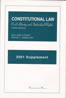 Image for Books: Constitutional Law, Civil Liberty and Individual Rights, 2001 Supplement (Paperback)