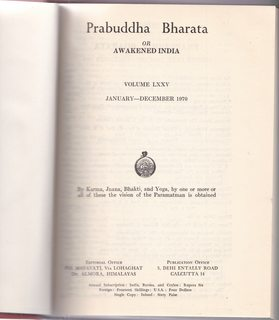Image for PRABUDDHA BHARATA OR AWAKENED INDIA 1970 (Vol.LXXV) 12 issues in one volume