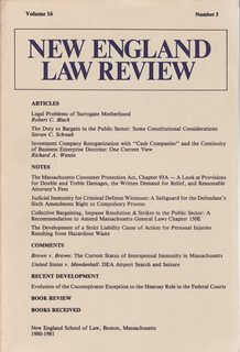 Image for The New England Law Review Vol. 16 No 3 1980-1981