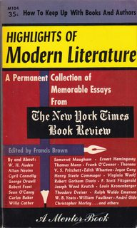 Image for HIGHLIGHTS OF MODERN LITERATURE: A Permanent Collection of Memorable Essays from the New York Times Book Review.