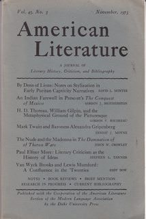 Image for American Literature: A Journal of Literary History, Criticism and Bibliography, Vol. XLV, No. 3, Nov. 1973 (ISSN: 0002-9831)