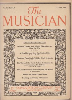 Image for The Musician (Monthly Magazine) Vol. XXIII No. 8 Aug. 1918