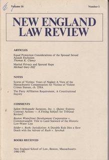 Image for New England Law Review: Volume 16 No.1  1980-1981
