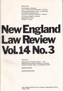 Image for New England Law Review: Volume 14 No. 3 Winter 1979