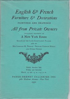 Image for English & French, Furniture & Decorations, Paintings & Drawings All from Private Owners including Property of A NY Estate, Public Auction Sale Fri. and Sat. Mar. 14 & 15 at 1:45pm 1952. Sale #1326